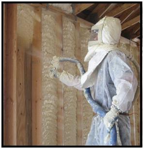 Spray Foam Applicator Spraying